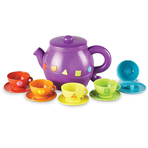Learning Resources Serving Shapes Tea Set, Color Recognition and Counting Toy, 11 Pieces, Ages 2+
