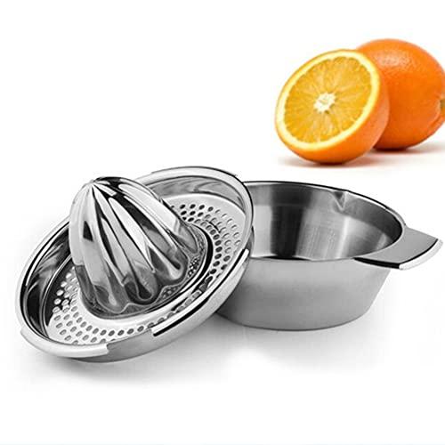 Manueller Orangen-Zitronen-Limetten-Entsafter, Edelstahl-Zitruspresse, Metall-Handpresse mit Schüsselbehälter für Grapefruit