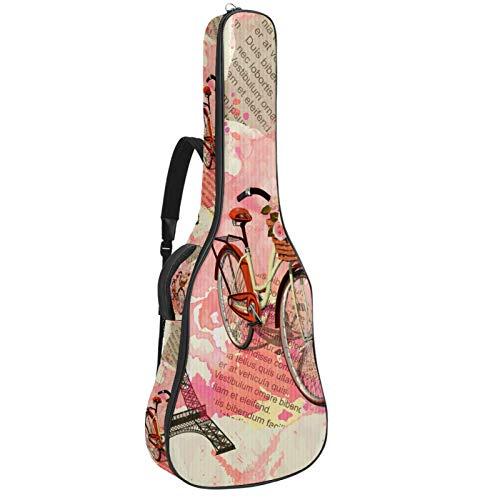 Funda para guitarra reforzada con esponja gruesa y acolchado extra de protección para el cuello, soporte para colgar en la parte trasera para guitarra acústica clásica, hermosa torre Eiffel