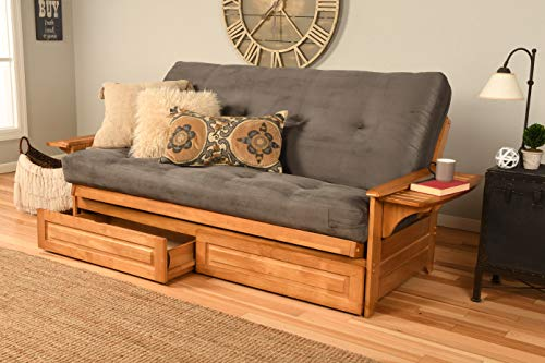 Kodiak Furniture Phoenix Futon With Storage Drawers, Suede Gray