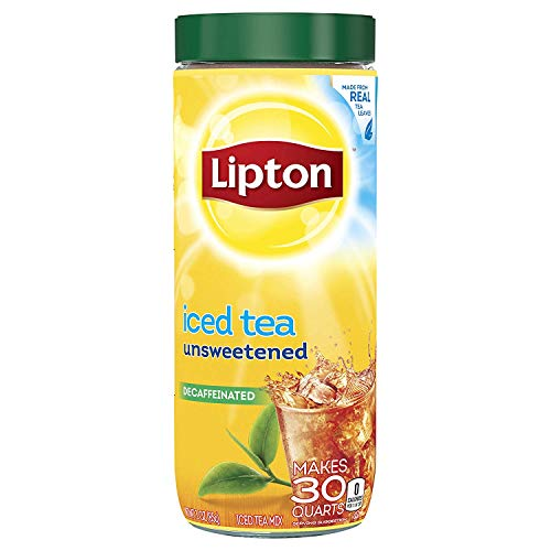 Lipton Black Iced Tea Mix, Decaffeinated Unsweetened, 30 qt (Pack of 6)