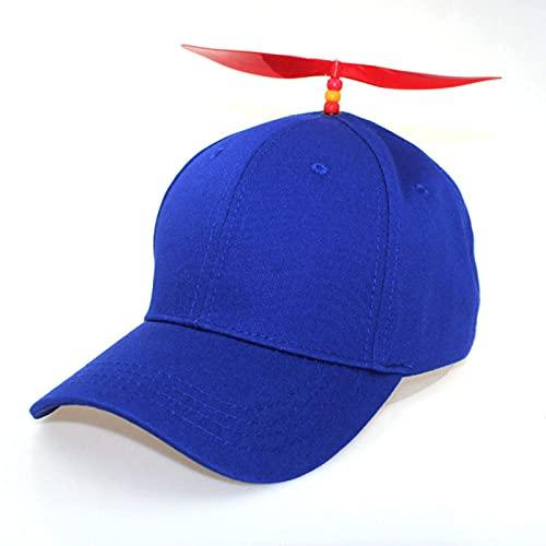 WAZHX Sombrero De Hélice Desmontable para Parejas De Otoño/Invierno Sombrilla Y Protector Solar Gorra De Béisbol De Libélula De Bambú Monocromática Sombrero Azul Ajustable Hélice Roja