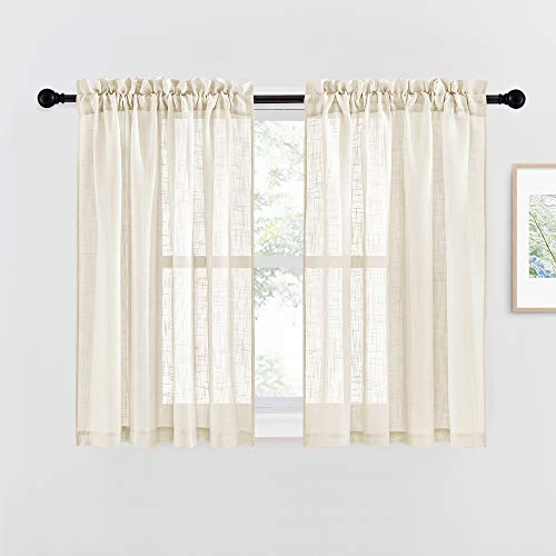 """NICETOWN Short Bedroom Sheer Curtains - 45"""" Long Linen Look Textured Semi Voile Sheer Drapes Keep Privacy with Amount Light for Kids/Nursery Room (Beige, W52 x L45, Set of 2)"""