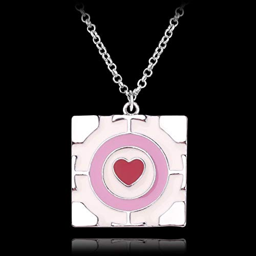 ZYLL Portal Collar Rosa Corazón Cuadrado Colgante Collar Lindo Moda Señoras Collar Regalo