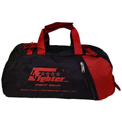4Fighter Mesh Borsa da Palestra con Zaino Nero-Rosso/Duffel Bag + Backpack