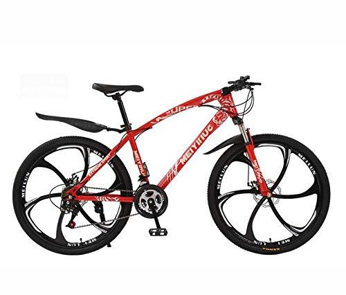 GASLIKE Bicicleta de montaña rígida, Cuadro de Acero con Alto Contenido de Carbono y Horquilla de suspensión, Freno de Doble Disco, Pedales de PVC