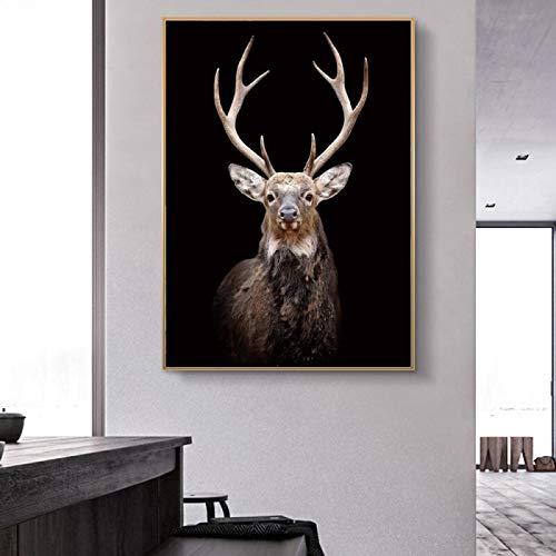 wZUN Carteles e Impresiones de Lienzo de Arte de Pared de Ciervo Negro imágenes de Pared de Animales para la decoración del hogar de la Sala de Estar 60x80 Sin Marco