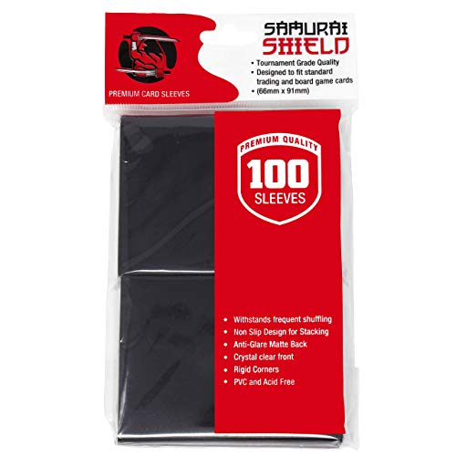 Samurai Shield (100 Count) Matte Black Premium Protective Trading Card Sleeves...