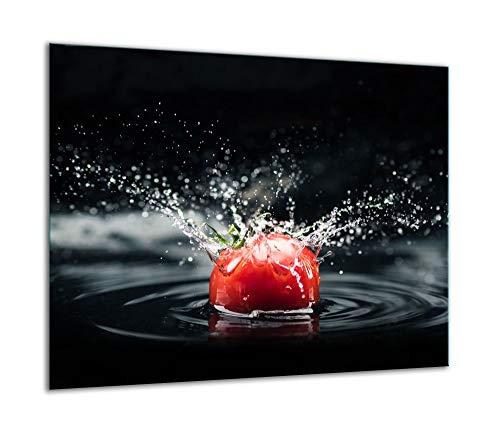QTA - Placa protectora de vitrocerámica 60 x 52 cm 1 pieza cocina eléctrica universal para inducción protección contra salpicaduras tabla de cortar de vidrio templado como decoración Tomate
