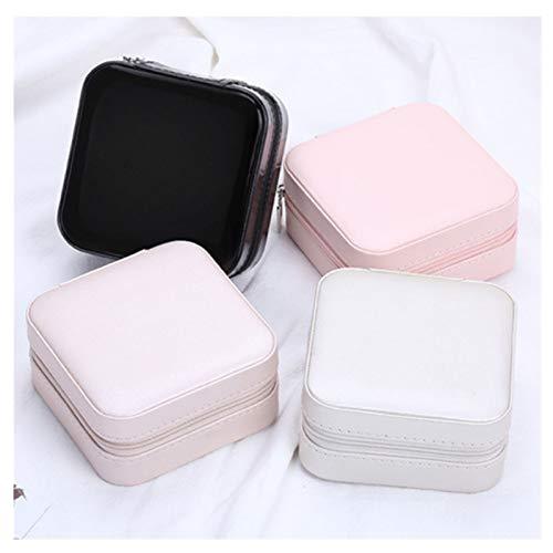 Joyería universal Organizador de exhibición Joyería de viaje Cajas de caja de joyería portátil Caja de joyería con cremallera con cremallera de cuero Joyeros de almacenamiento 1220 ( Color : Ivory )