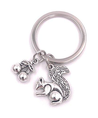 H-Customs Eichhörnchen mit Nüssen Kirschen Schlüsselanhänger Anhänger Silber aus Metall