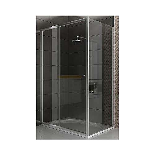 FUGO Eckduschkabine 120 x 90 x 190 cm mit Schiebetür   Türanschlag variabel   Echtglas Duschabtrennung Duschwand Eckkabine aus Einscheibensicherheitsglas ESG TÜV geprüft