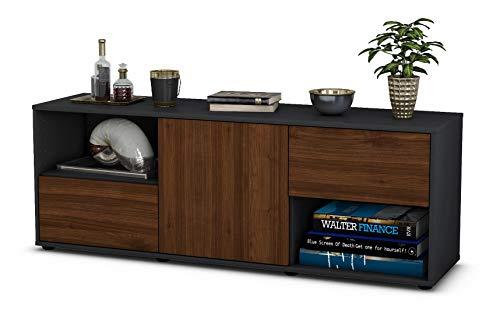 Stil.Zeit Möbel TV Schrank Lowboard Ambra, Korpus in anthrazit matt/Front im Holz Design Walnuss (135x49x35cm), mit Push to Open Technik und hochwertigen Leichtlaufschienen, Made in Germany