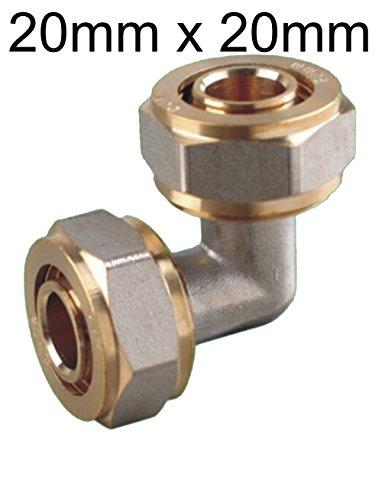 EXCOLO Fittings Verbundrohr 20 mm x 20 mm PEX-AL Rohrverbinder Messing Winkel 90 ° Verbindung 20 mm für Heizungsrohr