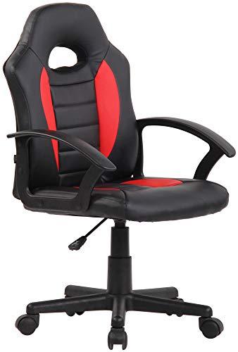 CLP Kinder Bürostuhl Femes I Höhenverstellbarer Schreibtischstuhl Mit Armlehnen I Drehstuhl Mit Leichtlaufrollen, Farbe:schwarz/rot