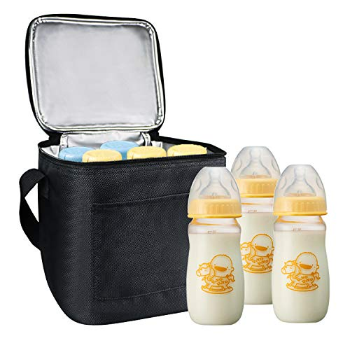 Homga Breast Milk Baby Bottle Cooler Bag, Breastmilk Insulated Cooler Tote Storage w/Air Tight Lock in The Cold & Preserve Important Nutrients (Fits up to 6 Large 8Oz. Bottles) (8.87.68.6in)