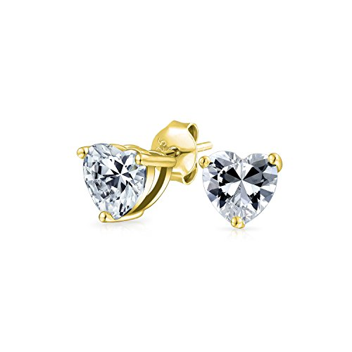 bling jewelry orecchini .50 Ct Cubic Zirconia Cuore A forma di cuore CZ Solitario Orecchini per donna Ragazza 14K Oro Placcato Argento Sterling 5MM