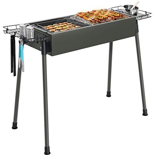 FEANG Große Holzkohle-BBQ-Grill, Edelstahl-Faltbarer Holzkohle-BBQ-Grillgitter für den Außenkochen Picknick-Camping-Patio-Hinterhof
