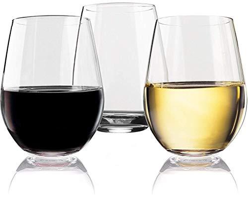 Vivocci Unbreakable Elegant Plastic Stemless Wine Glasses 20 oz | 100% Tritan Heavy Base | Shatterproof Glassware | Ideal For Cocktails & Scotch | Perfect For Homes & Bars | Dishwasher Safe | Set of 2