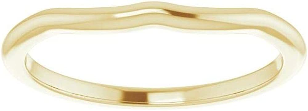 Solid 14K Yellow Gold Curved Notched Wedding Band for 6x4mm Oval Ring Guard Enhancer - Size 7.5