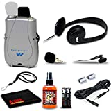 Williams Sound PockeTalker Ultra Duo Sound Amplifier with Headphones, Earbud, Plug-in Microphone, Batteries, Mic Extension Cord, Lanyard and 6Ave Cleaning Kit