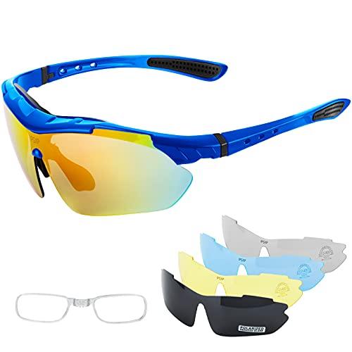 IPSXP Gafas de Sol Deportivas polarizadas 5 Lentes Intercambiables, Gafas de Ciclismo para Hombres y Mujeres, Carrera de béisbol, Escalada, Golf(Azul)