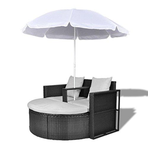 Anself Canapé de 2 places rond noir avec le parasol