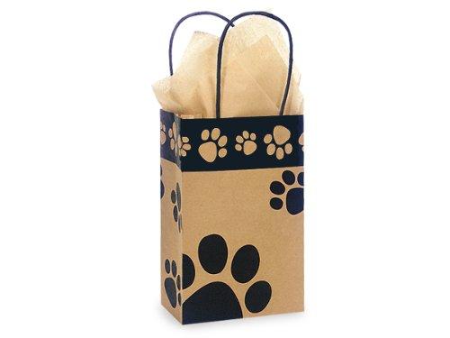 Kraft Paw Print Paper Small Shopper Gift Bag - Quantity of 5