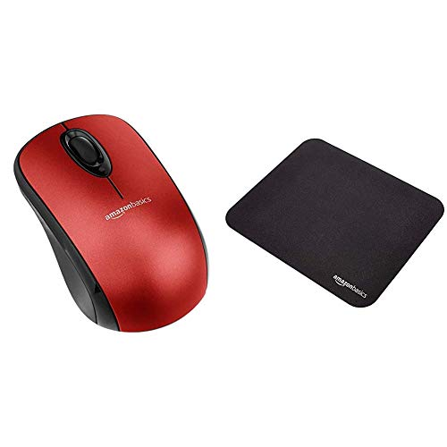 AmazonBasics Wireless Mouse with Nano Receiver - Red & Gaming Mouse Pad