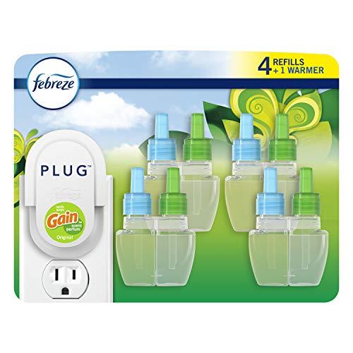 Febreze Plug in Air Fresheners, Gain Original, Odor Eliminator, Scented Oil Refill, 1 Warmer + 4 Oil Refills