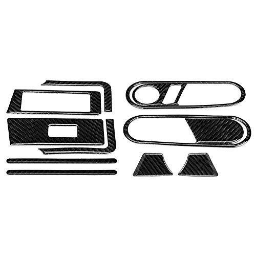 Juego de pegatinas para puerta - 12 piezas de manija interior de puerta de coche, cubierta de interruptor de elevación de vidrio de fibra de carbono, ajuste para 12-19