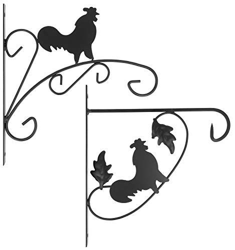 com-four® décorations murales 2X en Acier Enduit de Poudre, Crochets pour Pot de Fleur, Jardin, carillons éoliens, Panier Suspendu (2 pièces - Robinet)