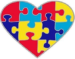 Pin de concienciación con el autismo, diseño de corazón