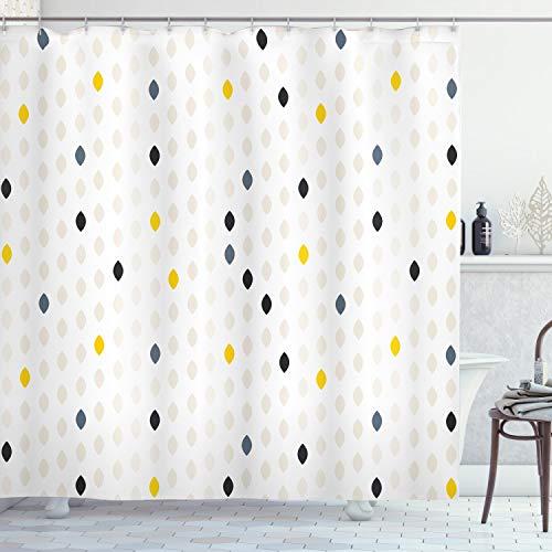 ABAKUHAUS Modern Duschvorhang, Polka Dots Geometrisch, mit 12 Ringe Set Wasserdicht Stielvoll Modern Farbfest & Schimmel Resistent, 175x180 cm, Gelb Weiß Grau