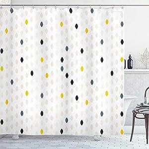 ABAKUHAUS Moderno Cortina de Baño, Lunares geométrica, Material Resistente al Agua Durable Estampa Digital, 175 x 220 cm, Gris Blanco Amarillo