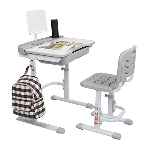 LTCTL Kinder Schreibtisch und Stuhl Set Hubtisch Kann Kinder Lerntisch und Stuhl 70CM (mit Leseständer ohne Tischlampe) kippen
