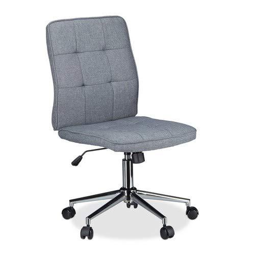 Relaxdays Bureaustoel, in hoogte verstelbare draaistoel, ergonomisch, comfortabel, 120 kg belastbaar, HxBxD: 104 x 60 x 60 cm, grijs