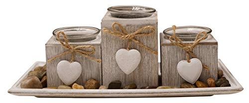 khevga Windlicht-Tablett aus Holz Grau Schwarz Weiß mit Herzen (Hellgrau Klein)