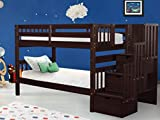 Bedz King Stairway Bunk Beds Twin over Twin with 3 Drawers in the Steps, Cappuccino