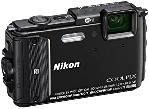 Nikon COOLPIX W300 Waterproof Digital Camera (Black) with 16GB SDHC Memory Card & Pouch