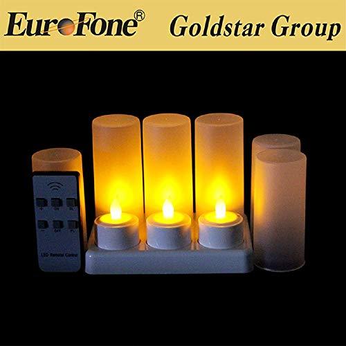 EuroFone Recargable LED Candle té Luces Tealights Vela Sin Llama Con Taza de Titular 6pcs (Yellow with remote)