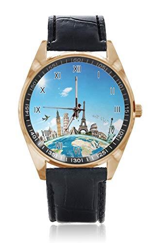 Choeter The Taj Mahal Giza Pirámide Monumento de París, tema emblemático personalizado para hombre y mujer, reloj de pulsera impermeable de acero inoxidable con correa de piel reemplazable