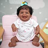 Anano Smiling Reborn Baby Doll Silicone Full Body Body 19 Inch African American Black Girl Doll Washable Newborn Babe Dolls That Look Real Set