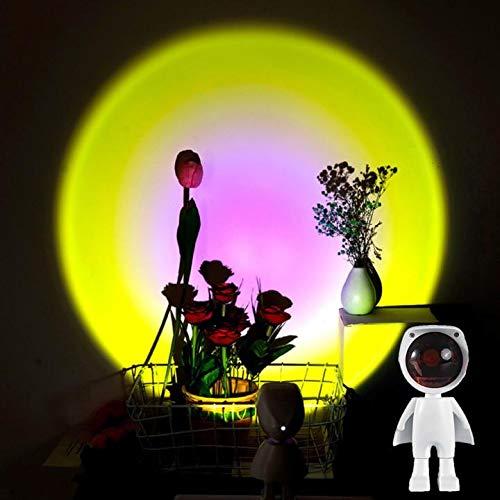 Proyector de lámpara crepuscular LED, interruptor táctil y carga por USB, proyector de luz nocturna, proyector de luz de ambiente arcoíris para dormitorio, decoración de fiesta en el salón