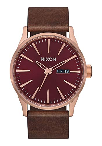 Nixon Armbanduhr Sentry Leder Rose Gold / Burgundy / Brown