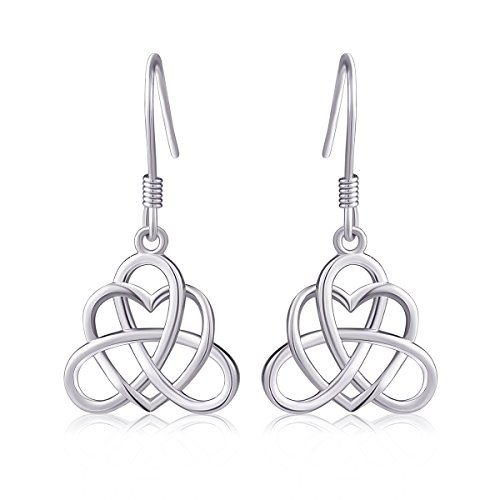 925 Sterling Silver Good Luck Vintage Irish Triquetra Heart Celtic Heart Love Knot Dangle Earrings for Women Teens Girls