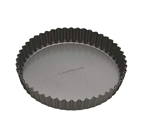 MasterClass KCMCHB37 23 cm Loose Bottomed Tart Tin with PFOA Free Non Stick, Robust 1 mm Thick Carbon Steel, 9 Inch Fluted Round Quiche Pan, Black