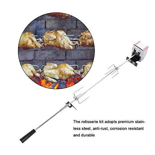 Buy Discount Universal Rotisserie Kit, Stainless Steel Rotisserie Kit for BBQ Spit Rod Meat Forks wi...