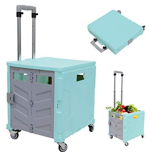 Foldable Utility Cart, 4 Wheeled Heavy Duty Shopping Cart with 360° Rolling Swivel Wheels Large Capacity Heavy Duty Handcart for Travel Shopping Moving Luggage Office Use