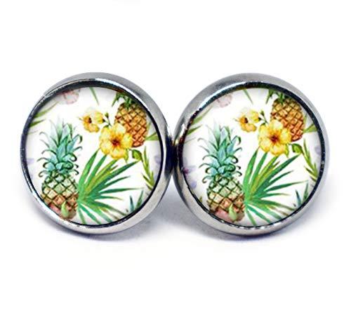 JUANLOWE Hawaii Ananas Motiv Ohrringe, Sommer Schmuck, silberfarben Edelstahl Cabochon - Tropische Ohrstecker